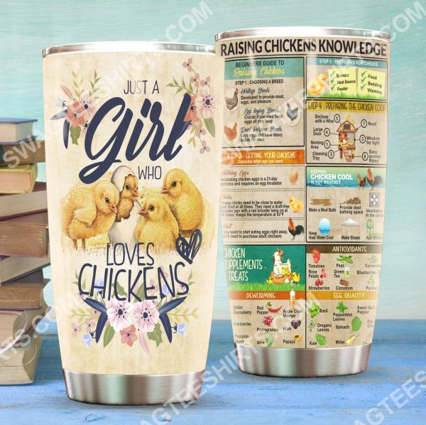 [Top-selling] floral just a girl who loves chickens all over printed stainless steel tumbler - maria