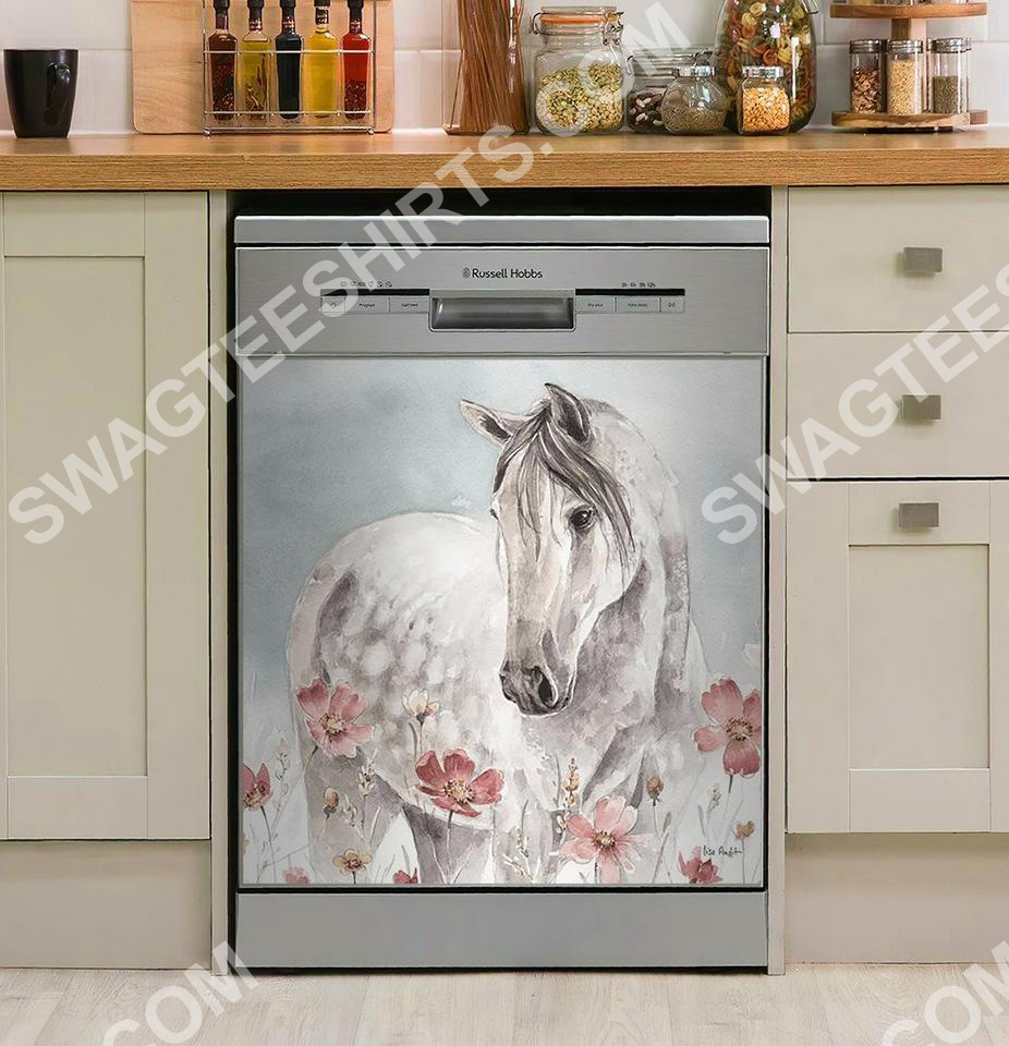 [Top-selling] flower and horses kitchen decorative dishwasher magnet cover - maria