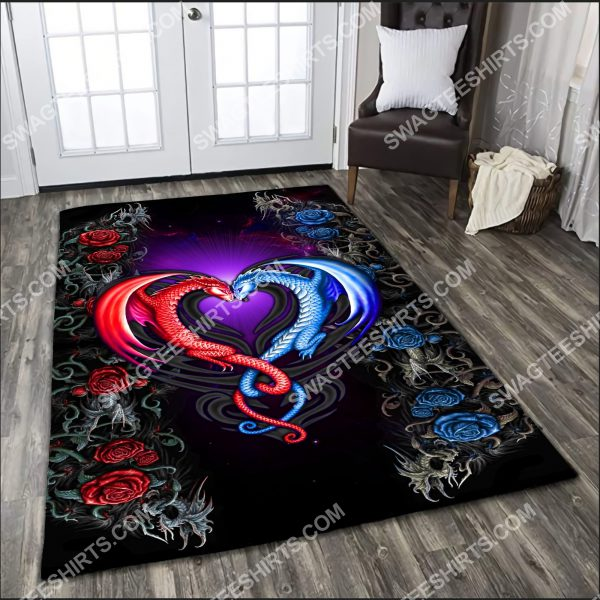 [Top-selling] flower dragon couples painting art all over printed rug - maria