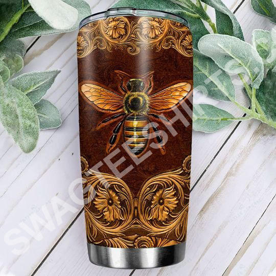 [Top-selling] leather bee all over printed stainless steel tumbler - maria