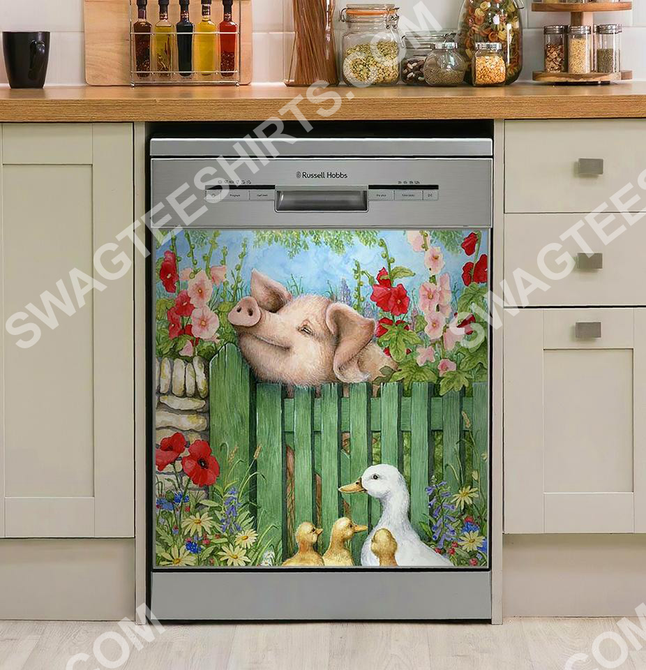 [Top-selling] pig and duck farm life kitchen decorative dishwasher magnet cover - maria