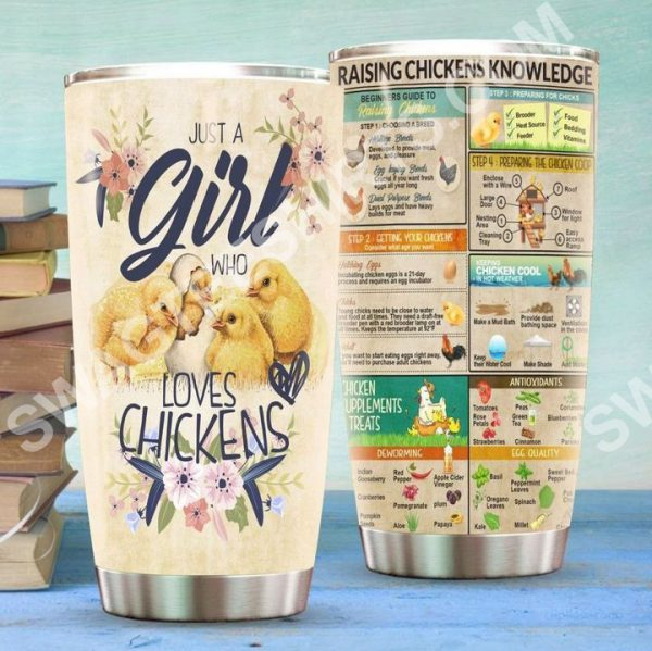 [Top-selling] raising chickens knowledge all over printed stainless steel tumbler - maria