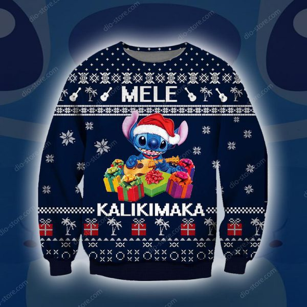 [Top-selling] stitch mele kalikimaka all over printed ugly christmas sweater - maria