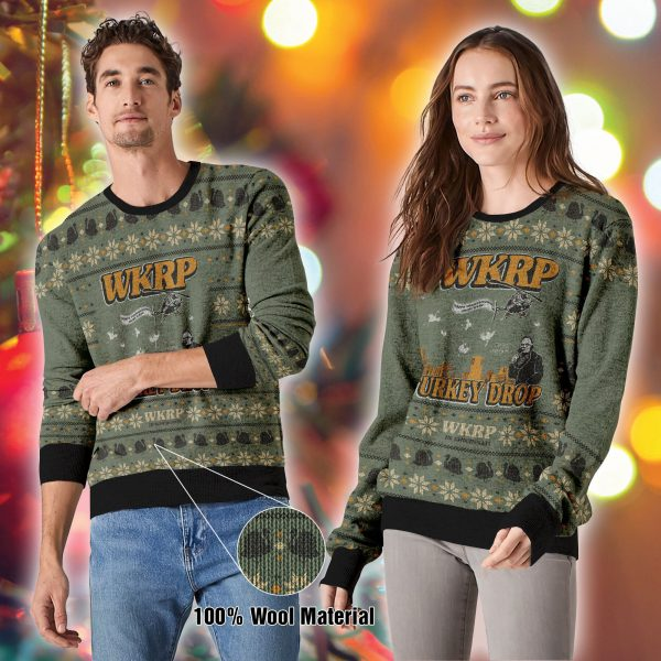[Top-selling] thanksgiving wkrp turkey drop all over printed ugly christmas sweater - maria
