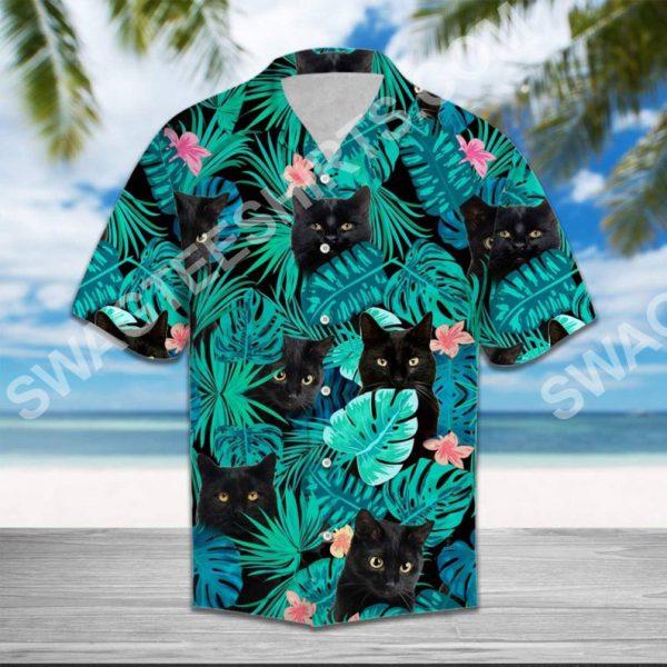 [Top-selling] the black cat all over printed hawaiian shirt - maria