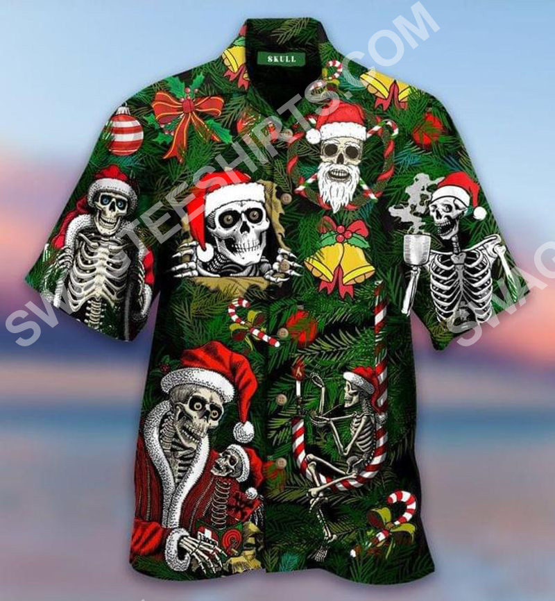 [Top-selling] the skull and merry christmas all over printed hawaiian shirt - maria