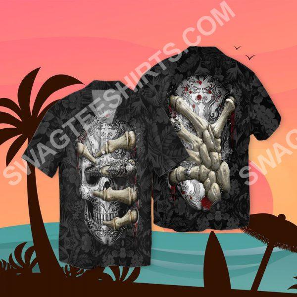 [Top-selling] the sugar skull all over printed hawaiian shirt - maria