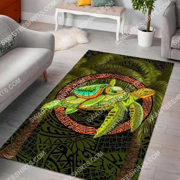 [Top-selling] turtle palm tree art all over printed rug - maria