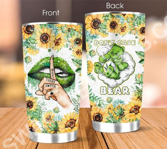 [Top-selling] weed leaf dont care bear all over printed stainless steel tumbler - maria