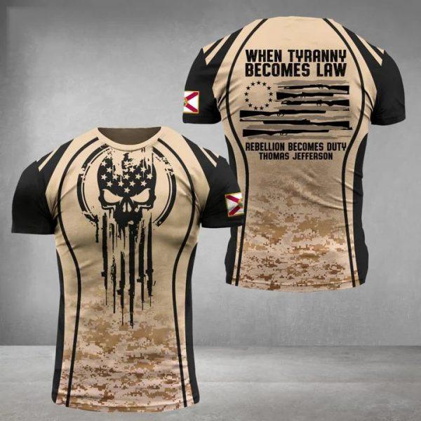 Florida three percenter when tyranny becomes law 3d shirt