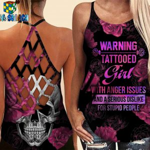 Warning tattooed girl criss-cross open back camisole tank top