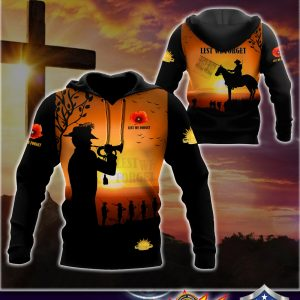 Anzac day lest we forget 3d all over printed hoodie