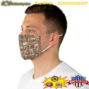 Bookish pattern fabric face mask 3