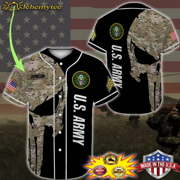 Custom Name Punisher Skull US Army Veteran Baseball Shirt