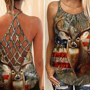 Hunting girl deer criss cross open back camisole tank top