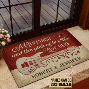 Personalized A guitarist and the pick of his life live here custom name doormat - Hothot 100421