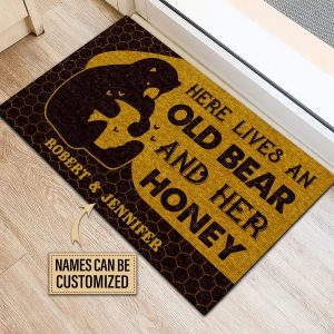Personalized Bear And Her Honey Live Here Customized Doormat - Hothot 100421