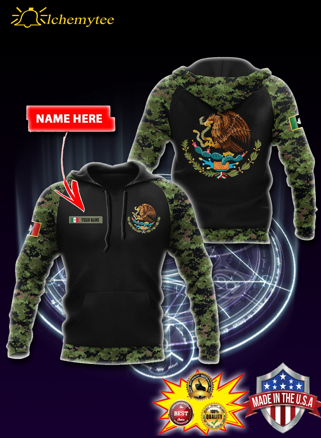 Personalized Custom name mexico coat of arms 3d all over printed hoodie  - Hothot 060421