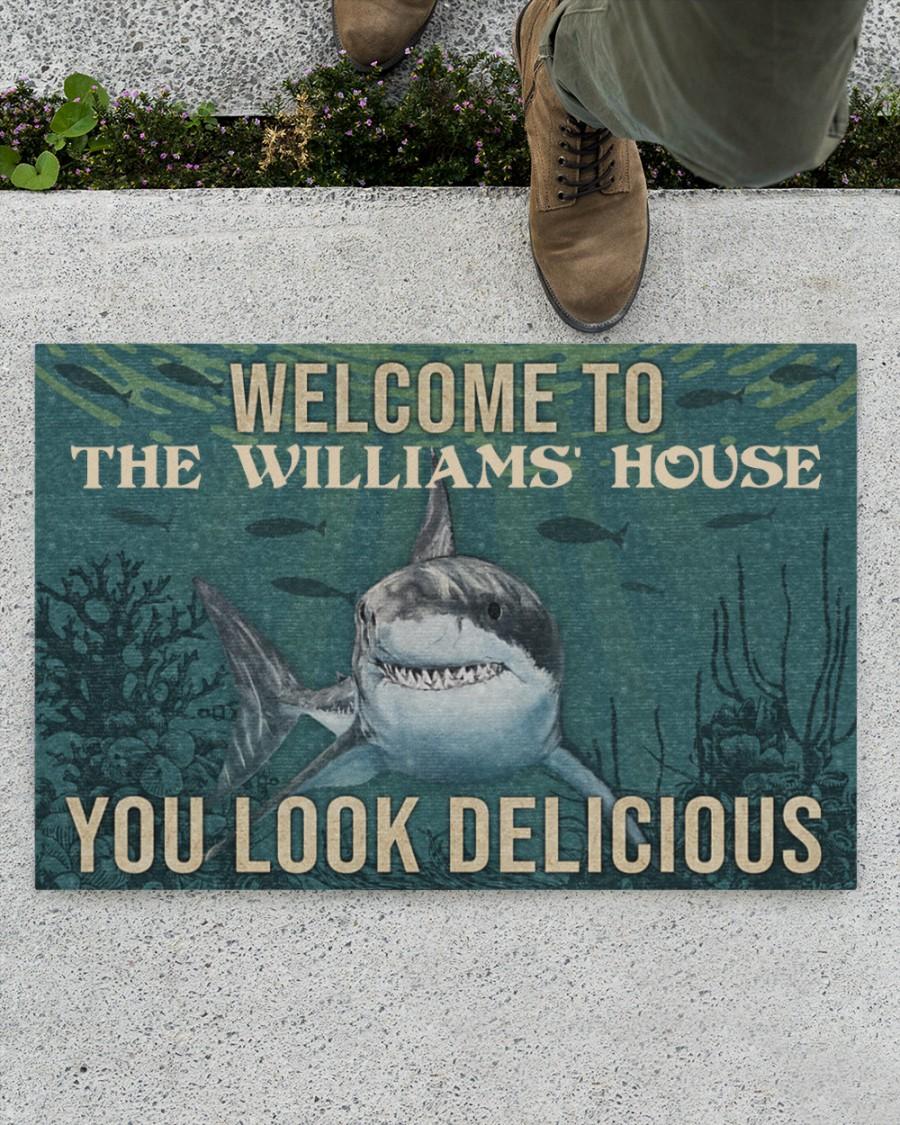 Personalized shark welcome delicious doormat 1