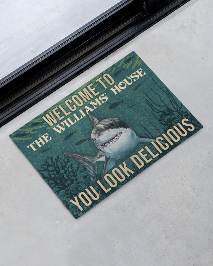 Personalized shark welcome delicious doormat 2