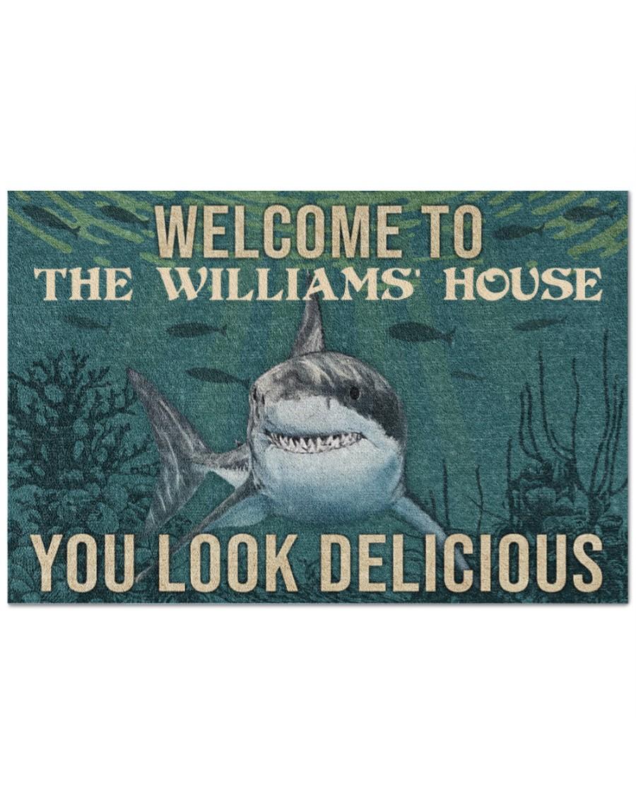 Personalized shark welcome delicious doormat