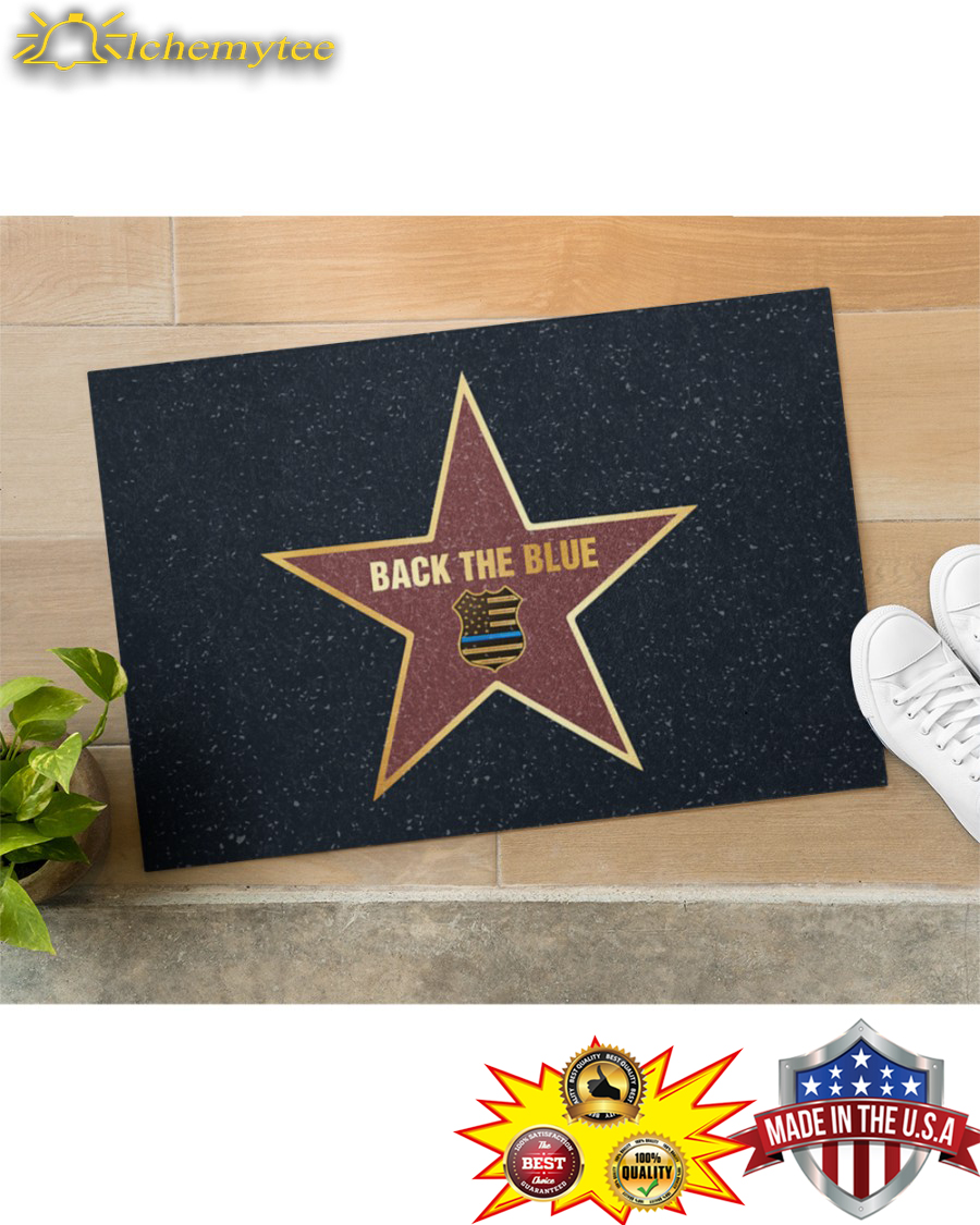 Police Star Back The Blue Doormat - Hothot 060421