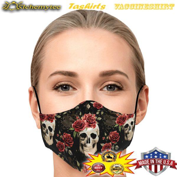 Vintage floral skull face mask - Hothot 100421