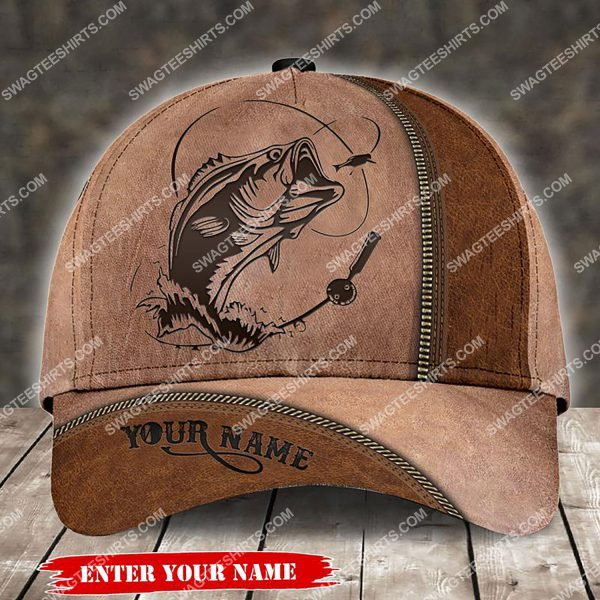 [Top-selling] custom name fishing leather all over printed classic cap - maria