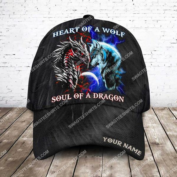 [Top-selling] custom name heart of a wolf soul of a dragon all over printed classic cap - maria