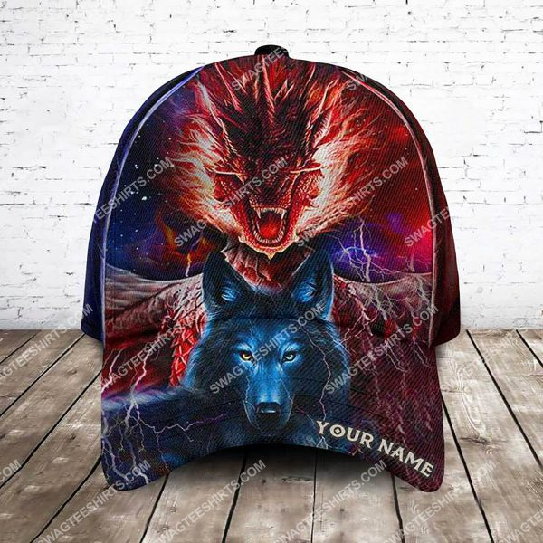 [Top-selling] custom name ice and fire dragon and wolf all over printed classic cap - maria