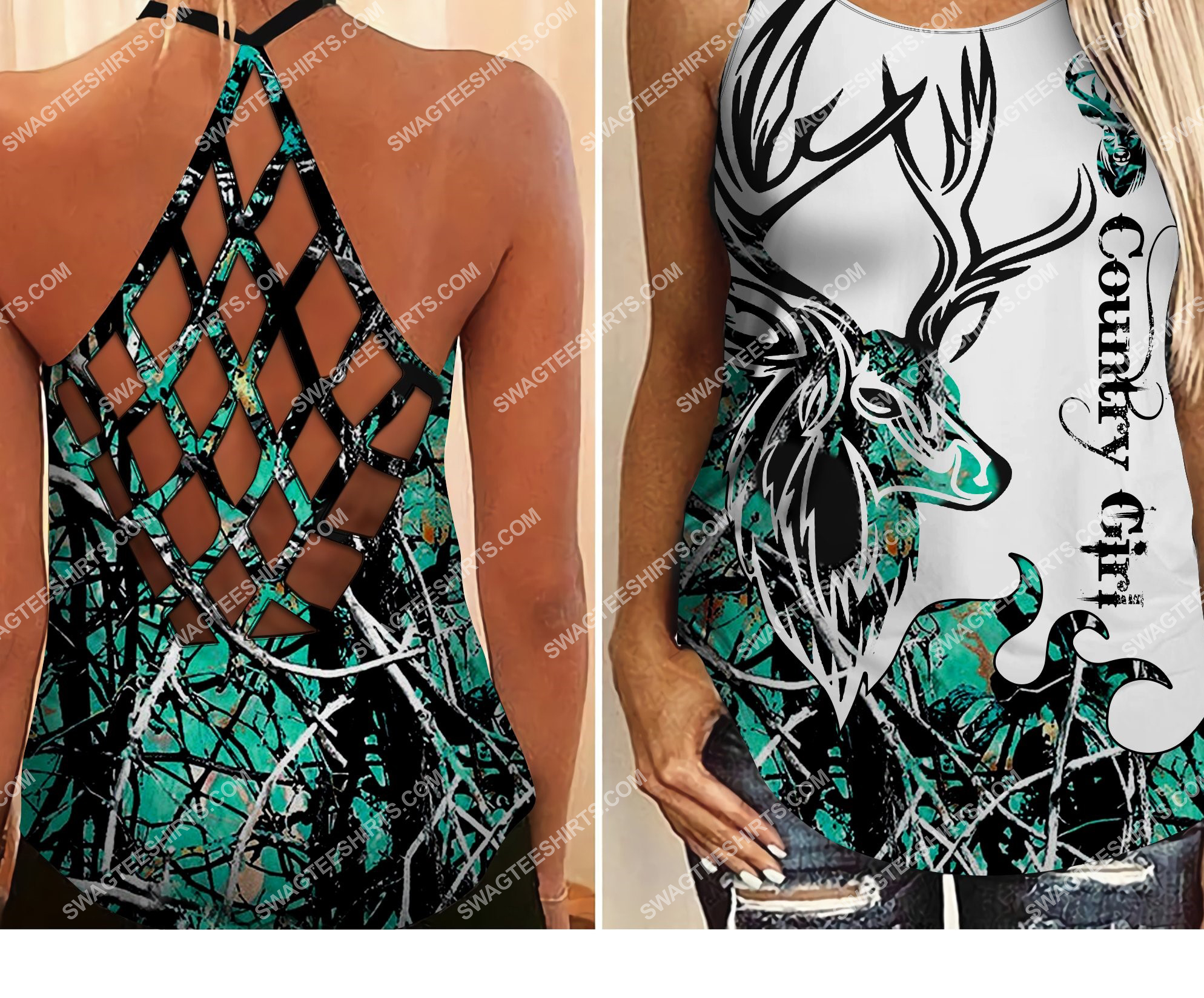 [Top-selling] deer hunting country girl  all over printed strappy back tank top - maria