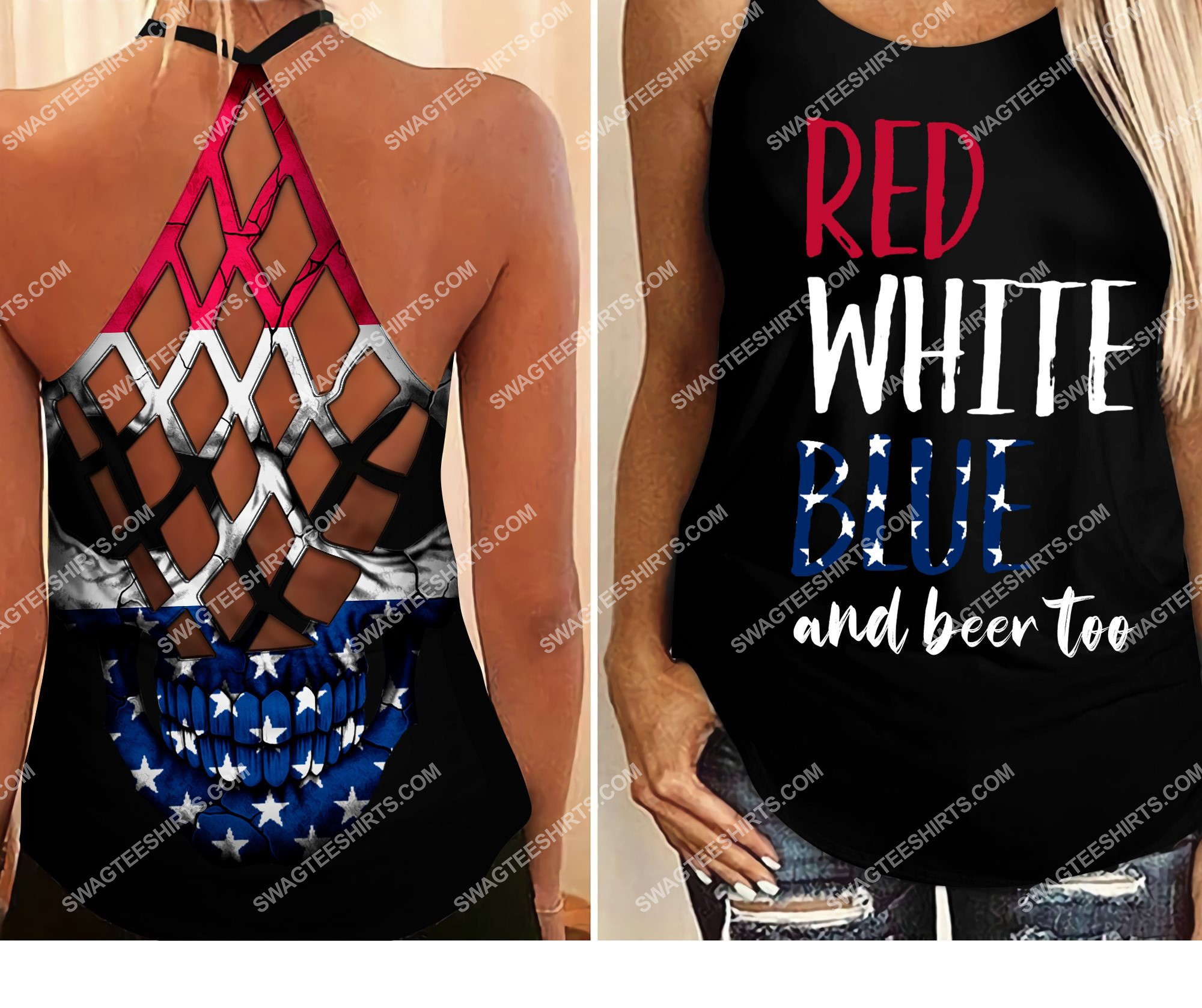 [Top-selling] fourth of july red white blue and beer too all over printed strappy back tank top - maria