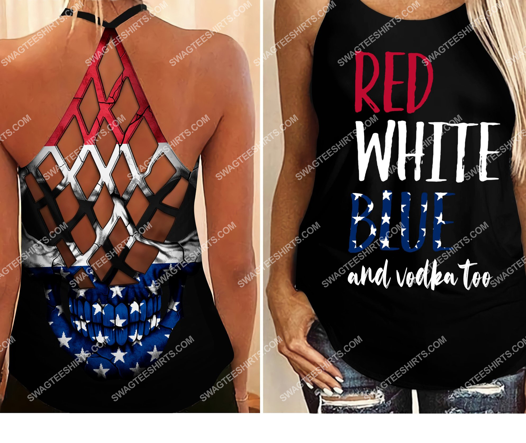 [Top-selling] fourth of july red white blue and vodka too all over printed strappy back tank top - maria