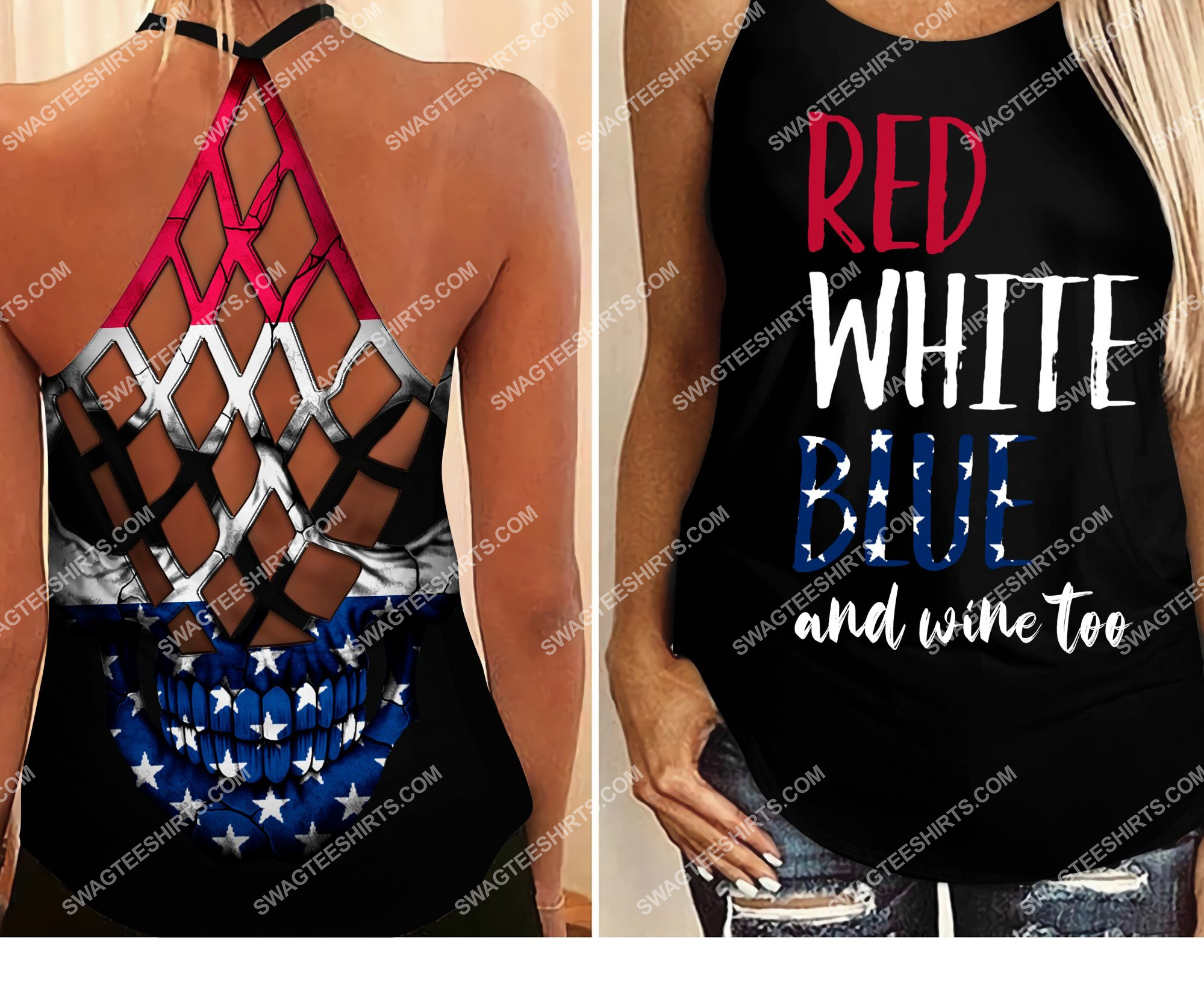 [Top-selling] fourth of july red white blue and wine too all over printed strappy back tank top - maria