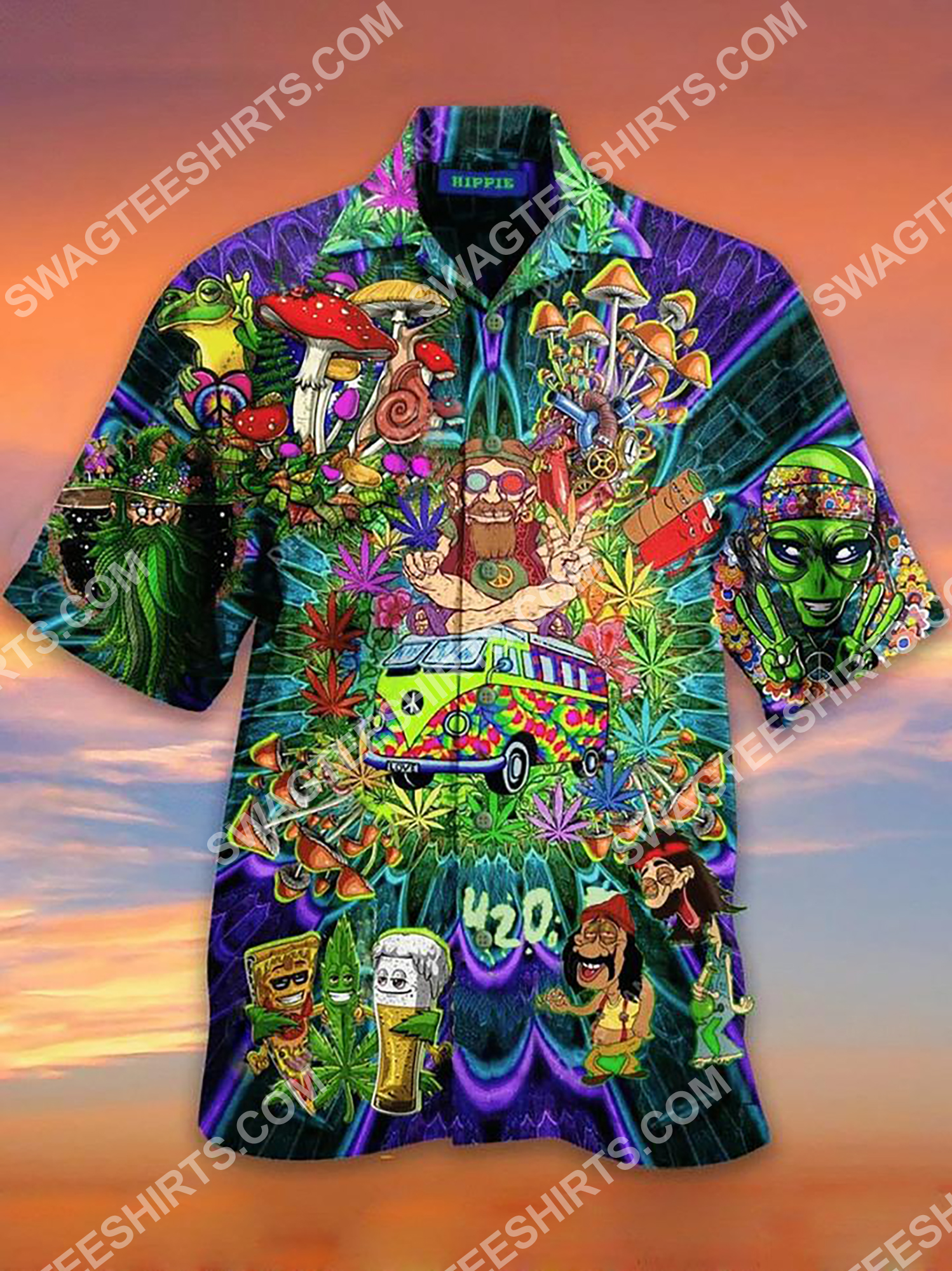[Top-selling] hippie mushroom all over printing hawaiian shirt - maria