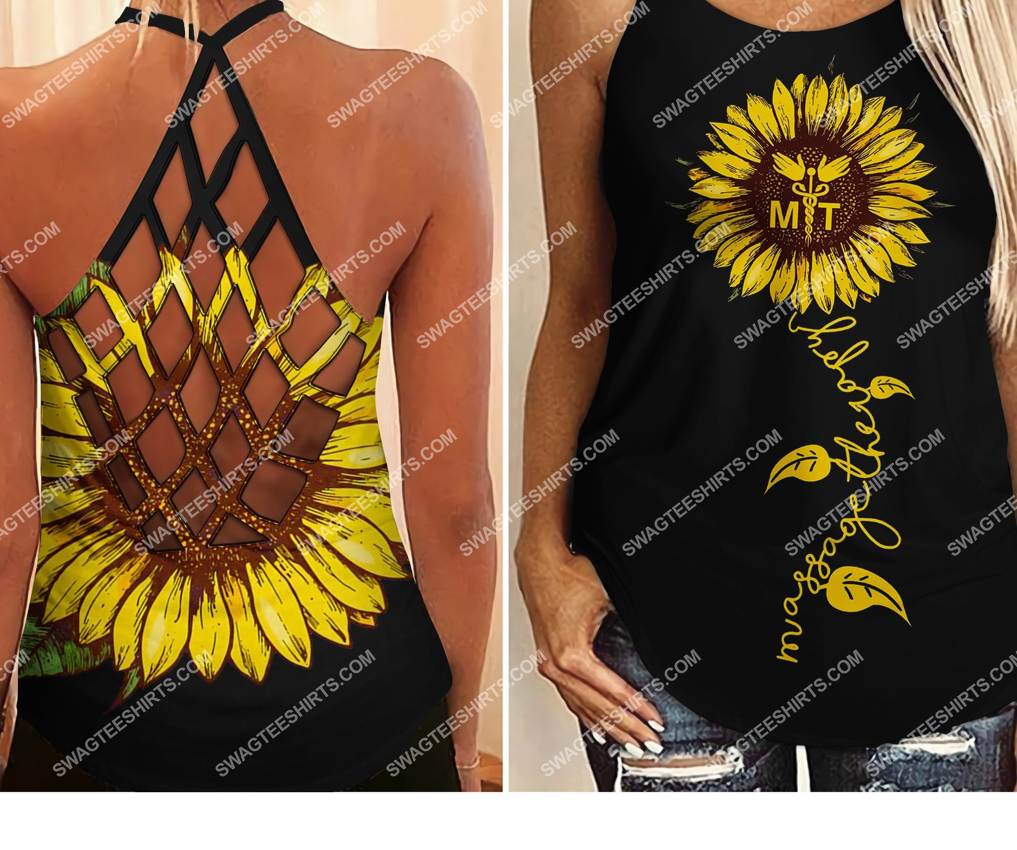 [Top-selling] massage therapist sunflower all over printed strappy back tank top - maria