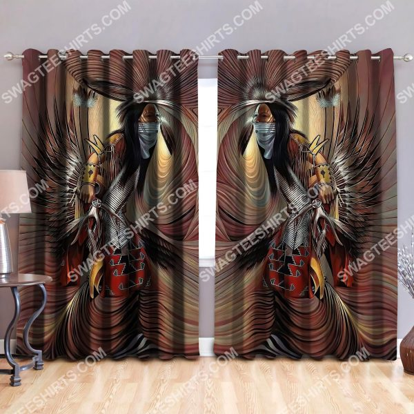 [Top-selling] native american man all over printed window curtains - maria