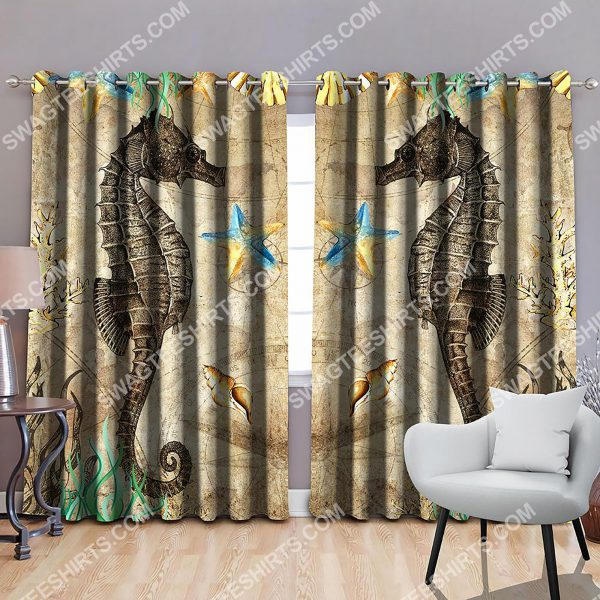 [Top-selling] seahorse vintage all over printed window curtains - maria
