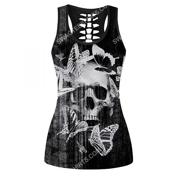 [Top-selling] skull and butterfly full printing hollow tank top - maria