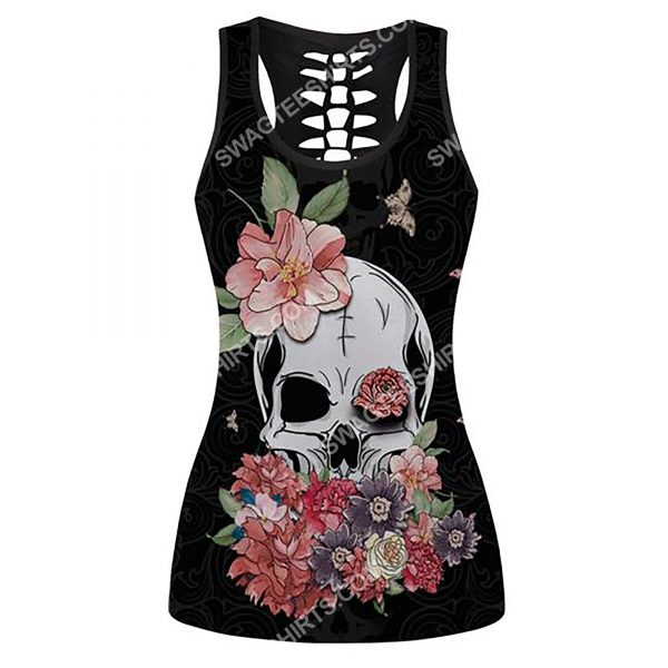 [Top-selling] skull with flowers and butterfly full printing hollow tank top - maria