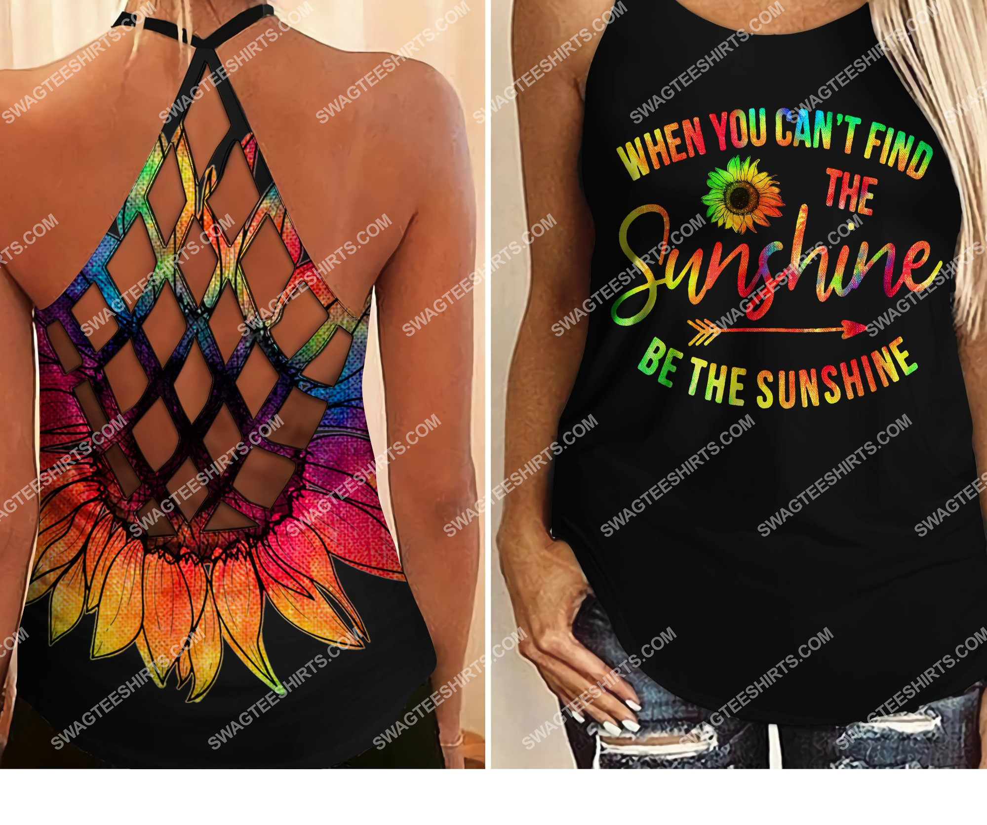 [Top-selling] sunflower be the sunshine all over printed strappy back tank top - maria