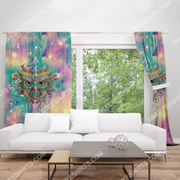 [Top-selling] the owl galaxy all over printed window curtains - maria