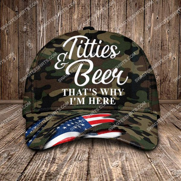 [Top-selling] titties and beer that's why i'm here all over printed classic cap - maria