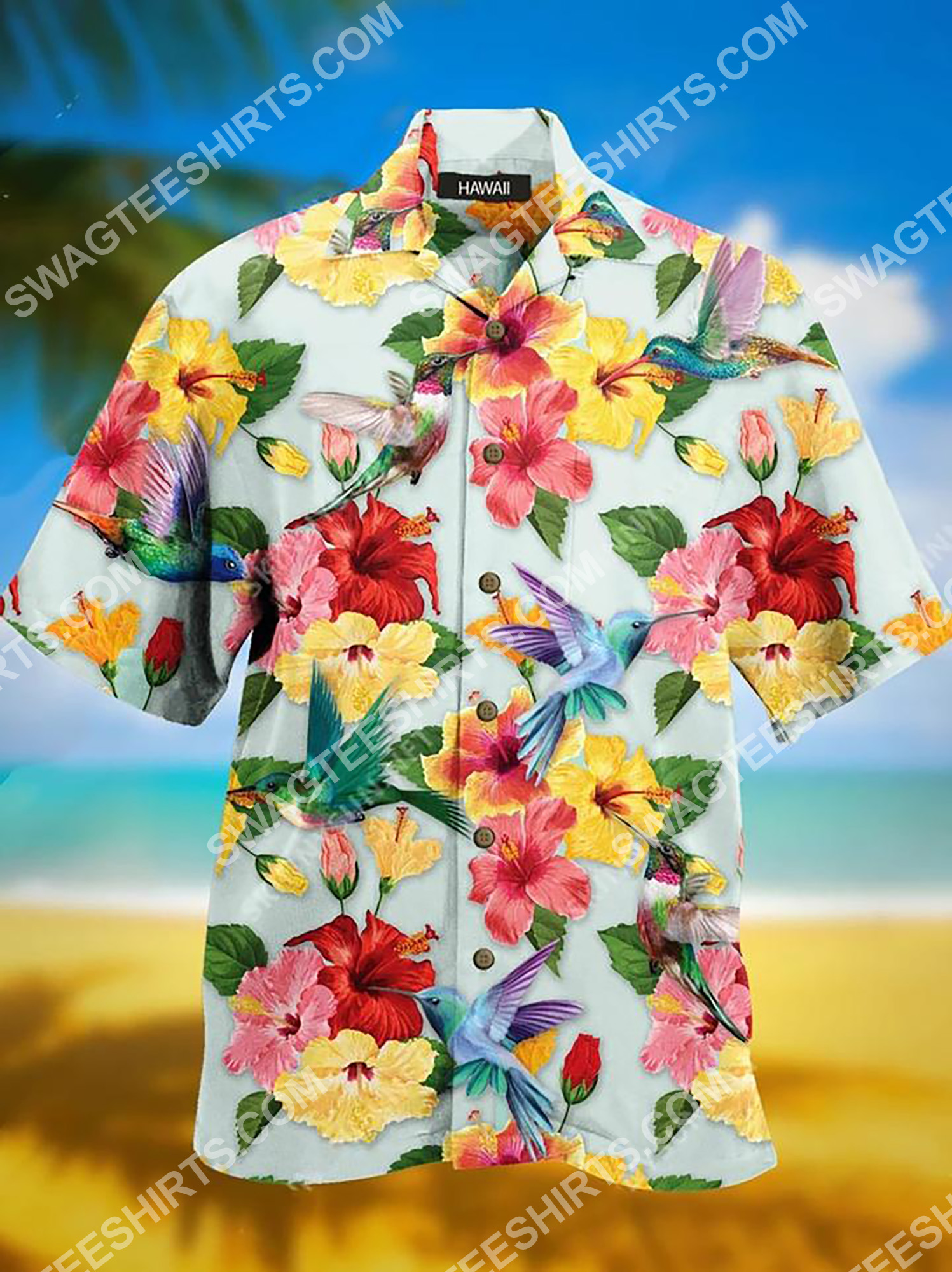 [Top-selling] tropical flower and bird all over printing hawaiian shirt - maria