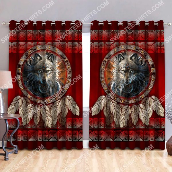 [Top-selling] wolf american native symbol all over printed window curtains - maria