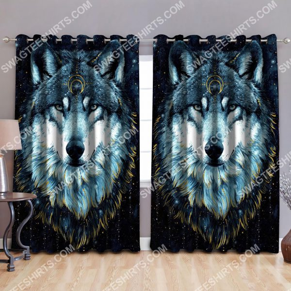 [Top-selling] wolf and moon night all over printed window curtains - maria