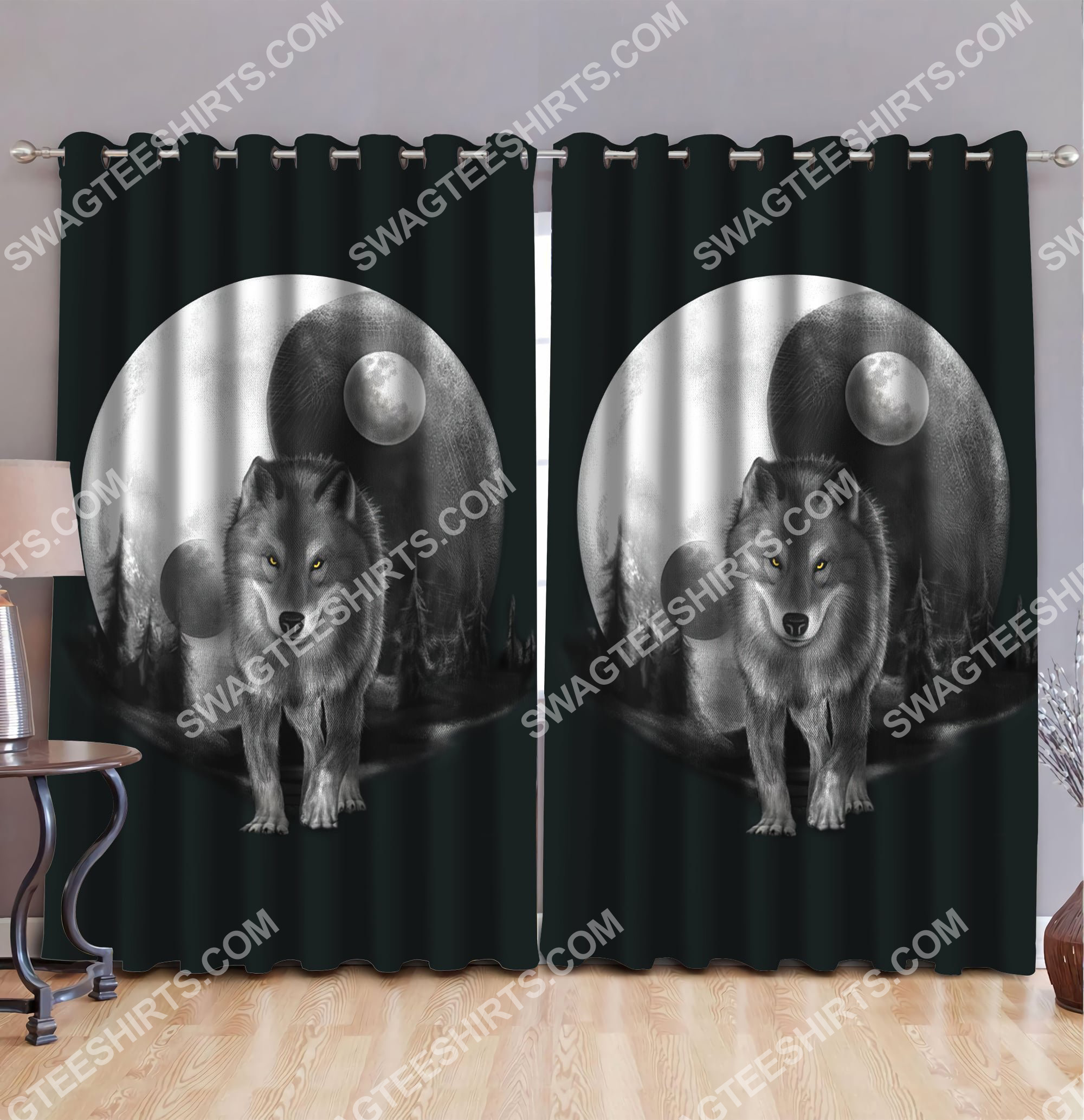 [Top-selling] wolf walk in moon all over printed window curtains - maria