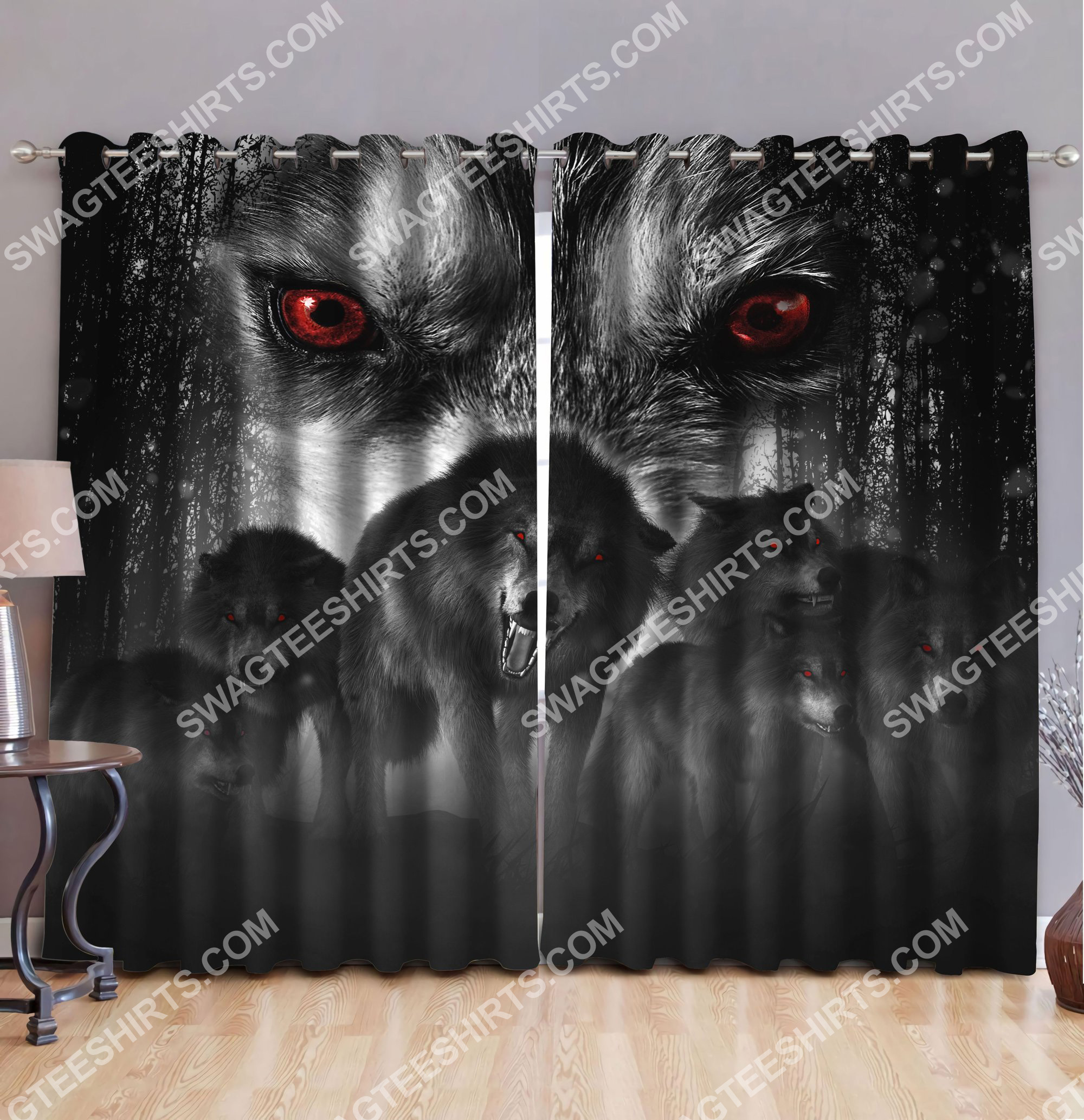 [Top-selling] wolf with red eyes all over printed window curtains - maria