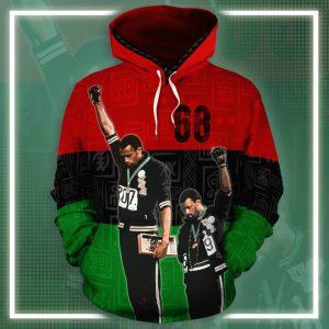 1968 olympics black power salute all over printed hoodie