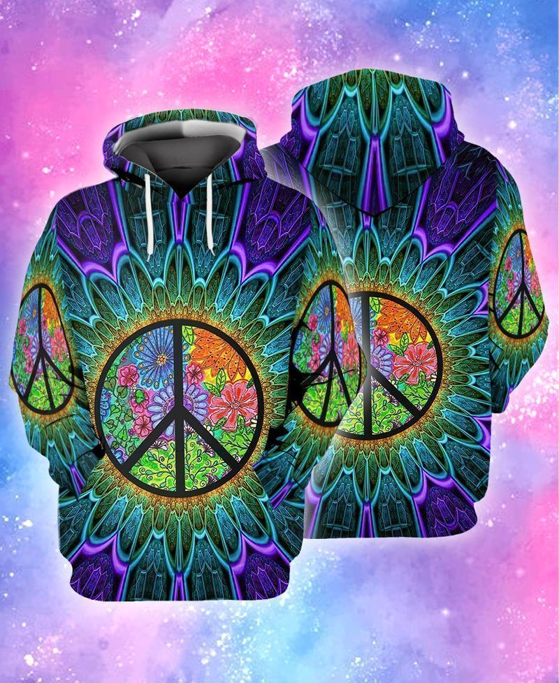 Peace symbol hippie trippy flower 3D full print hoodie